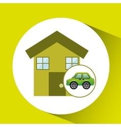 eco car house icon environment vector image