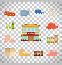 grocery icons set on transparent background vector image vector image
