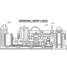 Missouri saint louis architecture line skyline vector