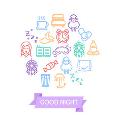 Sleeping and insomnia color round design template vector