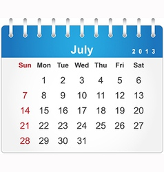 Stylish calendar page for July 2013 vector image