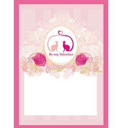 Valentine card with cats in love vector image