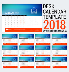 2018 calendar design template place for photo red vector