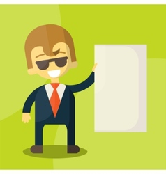 businessman holding blank notes characters poses vector image vector image