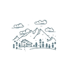 Flat line concept with house trees and mountains vector image vector image