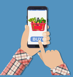 hand holding smartphone with shopping bag vector image vector image
