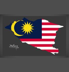 Malacca malaysia map with malaysian national flag vector