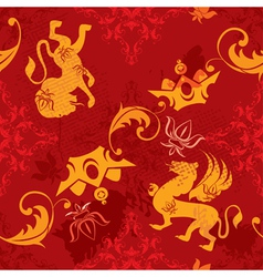 Seamless pattern with heraldic silhouettes vector image