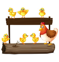 Wooden sign with hen and little chicks vector