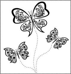 black butterflies vector image