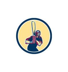 Cricket Player Batsman Circle Retro vector image vector image