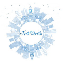 outline fort worth usa skyline with blue vector image vector image