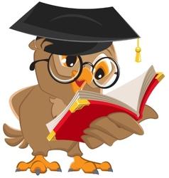 Owl reading a book vector image
