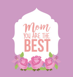 retro label pink roses mom the best card vector image