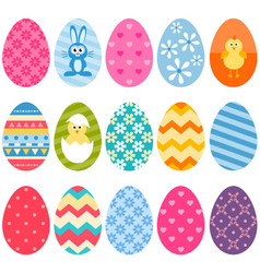 set of fifteen colorful easter eggs icons vector image vector image