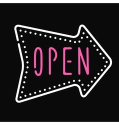Classic open neon sign dark background business vector image vector image