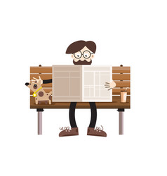 man reading newspapers on bench with dog retro vector image vector image
