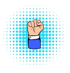 Raised fist hand gesture icon comics style vector image vector image
