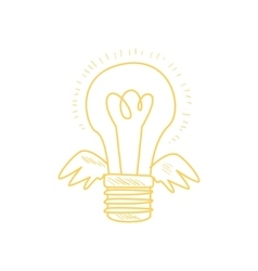 Winged electric idea bulb vector