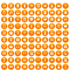 100 property icons set orange vector image