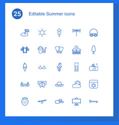 25 summer icons vector