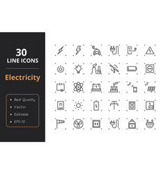 30 high quality energy line icons vector image