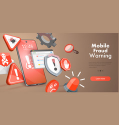 3d conceptual mobile fraud vector image