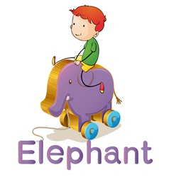A boy on a toy elephant vector