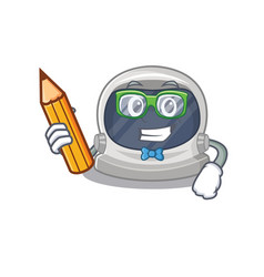 A brainy student astronaut helmet with pencil vector
