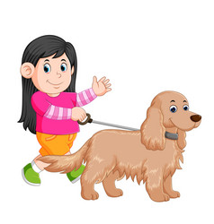 A little girl is walking with her female dog vector