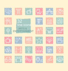 Arts and entertainment icon set on spots drawn vector