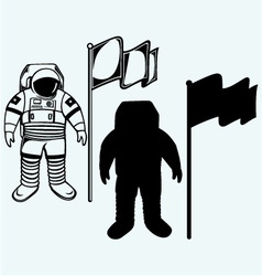 Astronaut and flag vector image