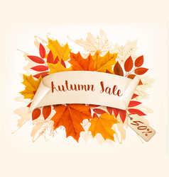 Autumn concept frame with sale tag vector