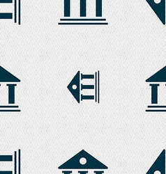 bank icon sign Seamless pattern with geometric vector image