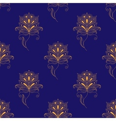 Blue and yellow paisley seamless pattern vector image