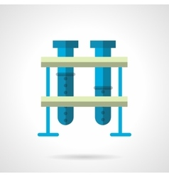 Blue test-tubes flat color style icon vector image vector image