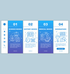 Books catalogue onboarding mobile web pages vector
