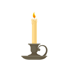 Burning candle in a vintage candle holder vector