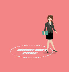 Business woman exit from comfort zone vector