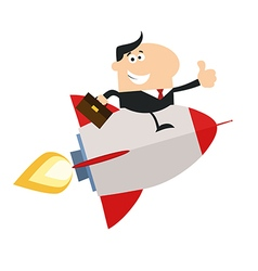 Businessman on a Sky Rocket Cartoon vector