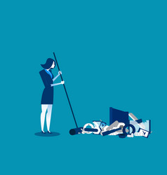 Businesswoman sweeping away old technology vector