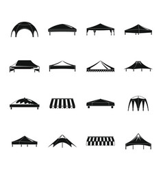 Canopy shed overhang icons set simple style vector