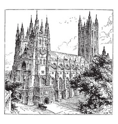 Canterbury cathedral vintage vector