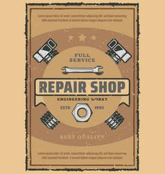 Car repair and garage service retro poster vector