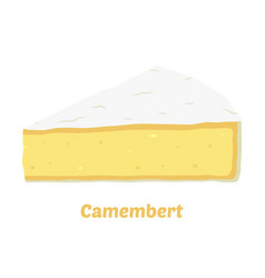 Cartoon camembert cheese triangle piece vector