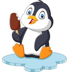 cartoon penguin holds chocolate ice cream treat vector image