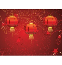 Chinese Lantern with Flowers2 vector image vector image