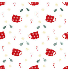 christmas cup pattern vector image