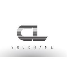 Cl c l black and white horizontal stripes letter vector