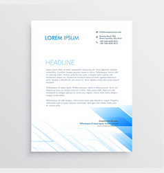 Clean minimal letterhead design with blue shape vector